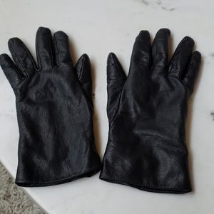 Black leather cashmere lined gloves XL